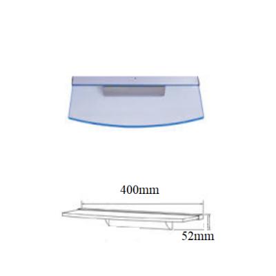 Stikla plaukts ar LED apgaismojumu 400mm D-veida
